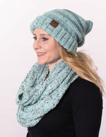 Funky Junque CC Oversized Slouchy Beanie Bundled With Matching Infinity Scarf - Confetti Mint