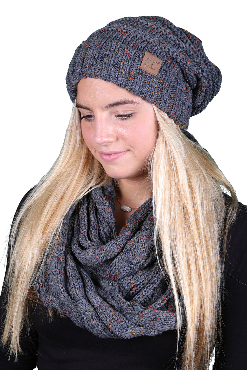 CC Oversized Slouchy Beanie Bundled With Matching Infinity Scarf - Confetti Melange Grey