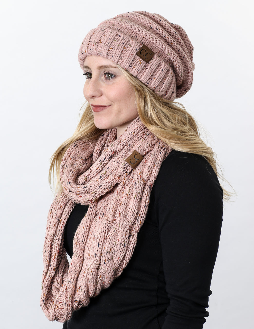 CC Oversized Slouchy Beanie Bundled With Matching Infinity Scarf - Confetti Indi Pink