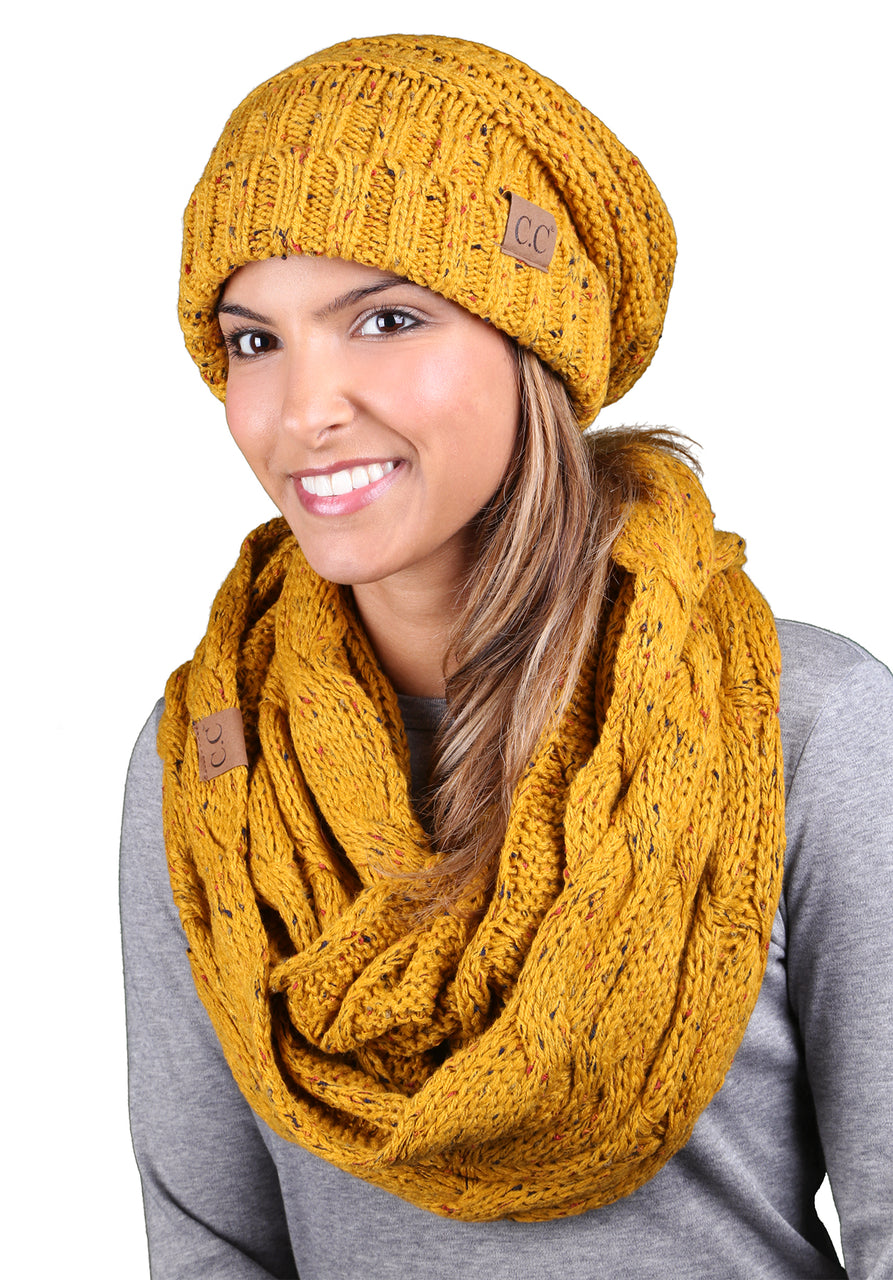 CC Oversized Slouchy Beanie Bundled With Matching Infinity Scarf - Confetti Mustard