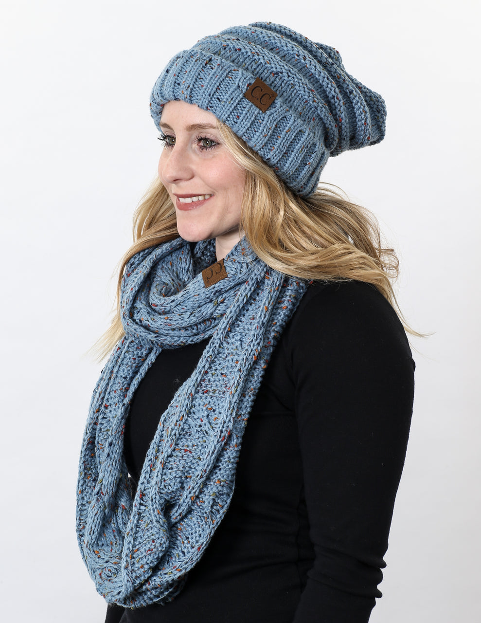 CC Oversized Slouchy Beanie Bundled With Matching Infinity Scarf - Confetti Denim
