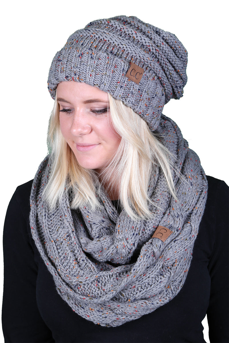 CC Oversized Slouchy Beanie Bundled With Matching Infinity Scarf - Confetti Dove Grey