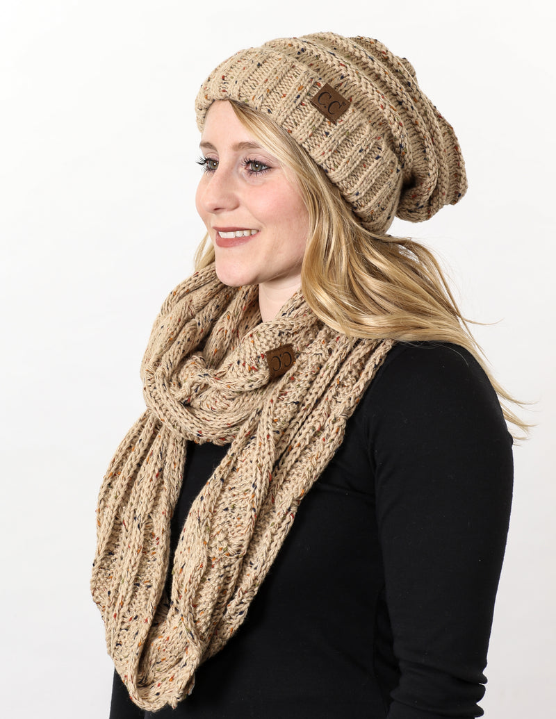 CC Oversized Slouchy Beanie Bundled With Matching Infinity Scarf - Confetti Latte