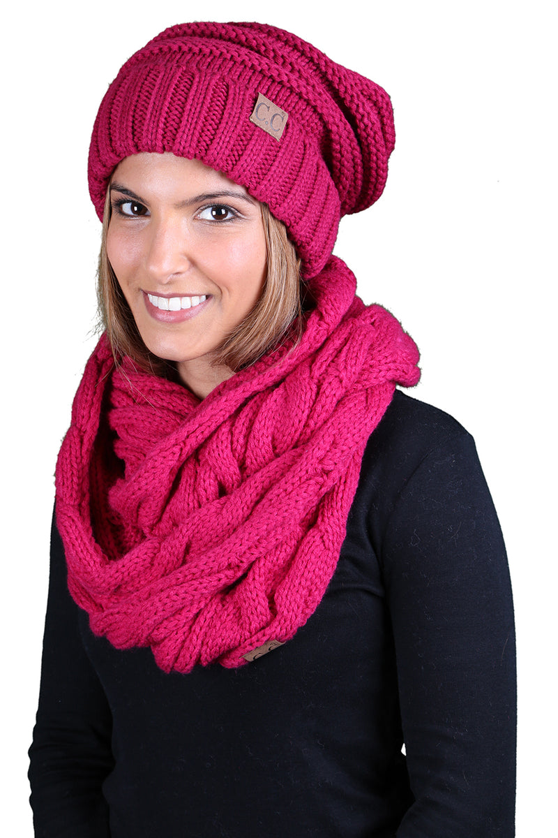 CC Oversized Slouchy Beanie Bundled With Matching Infinity Scarf - Hot Pink