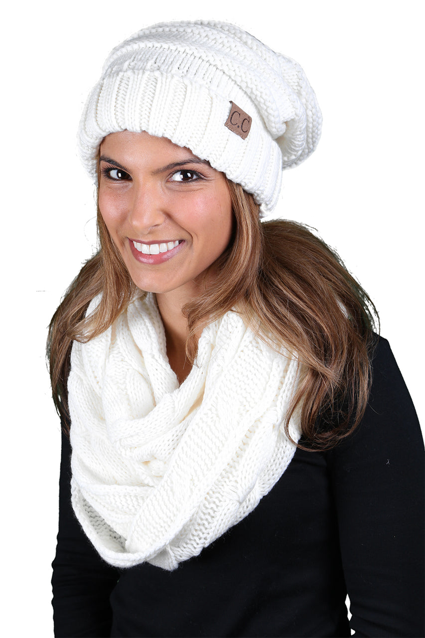 CC Oversized Slouchy Beanie Bundled With Matching Infinity Scarf - Ivory