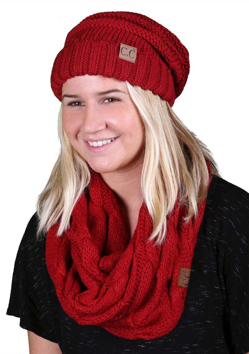 CC Oversized Slouchy Beanie Bundled With Matching Infinity Scarf - Red