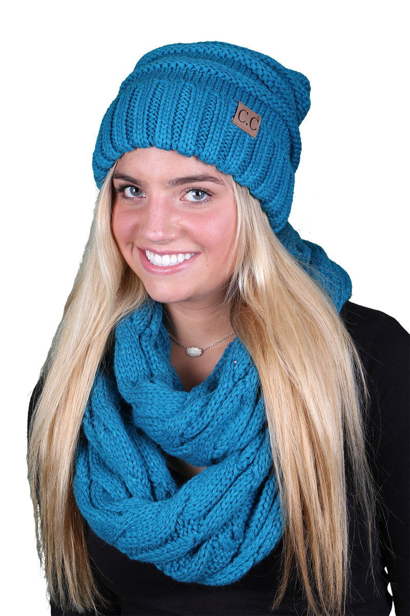 CC Oversized Slouchy Beanie Bundled With Matching Infinity Scarf - Teal