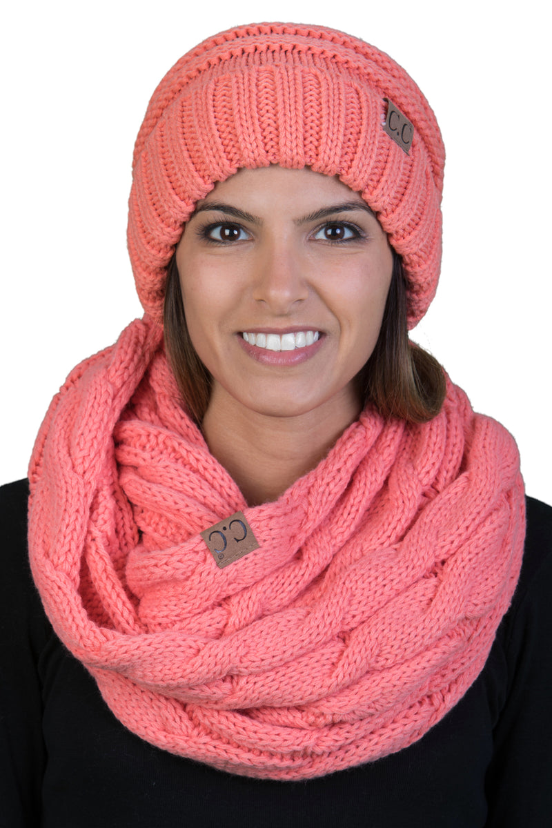 CC Oversized Slouchy Beanie Bundled With Matching Infinity Scarf - Coral