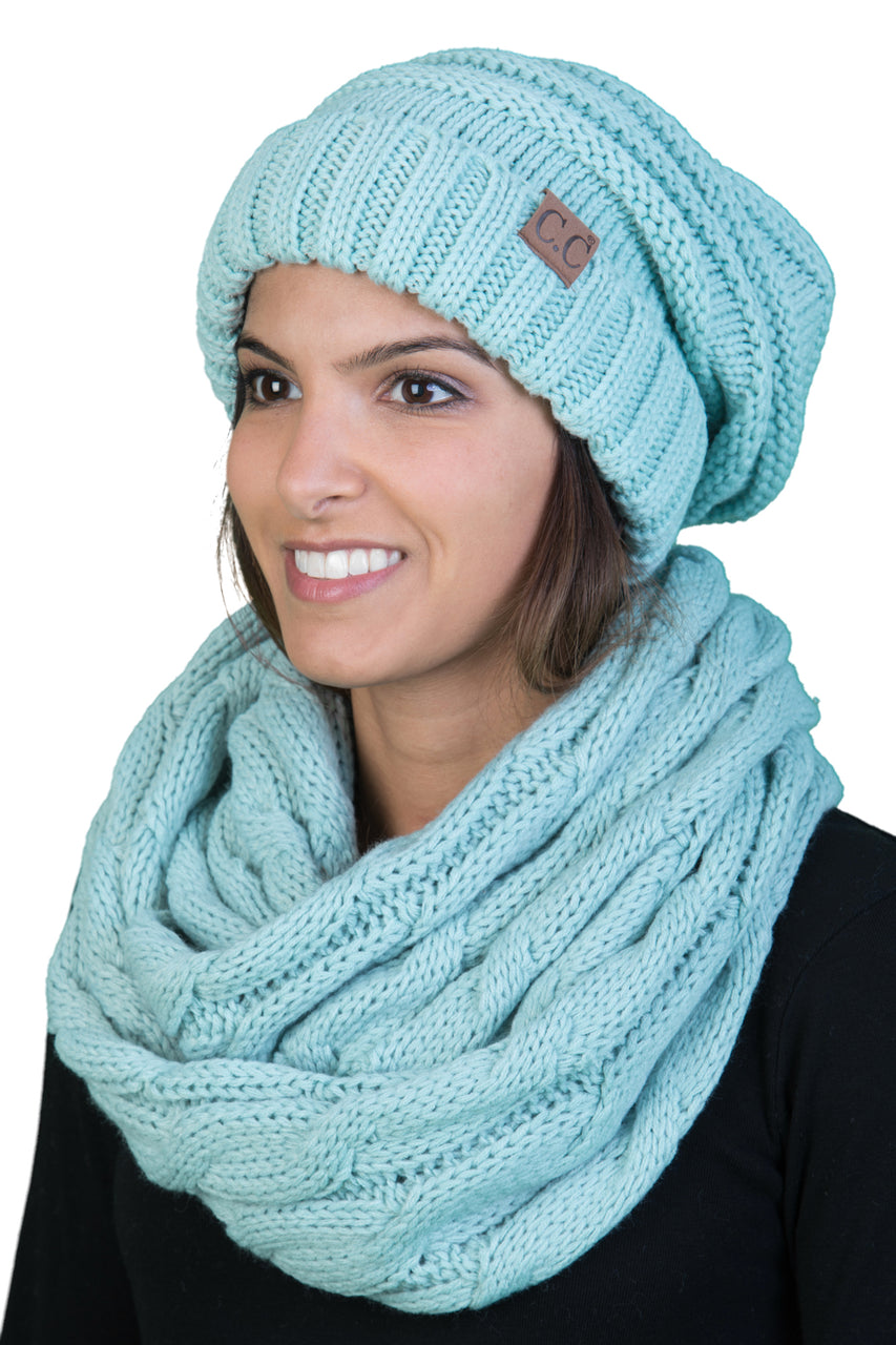 CC Oversized Slouchy Beanie Bundled With Matching Infinity Scarf - Mint