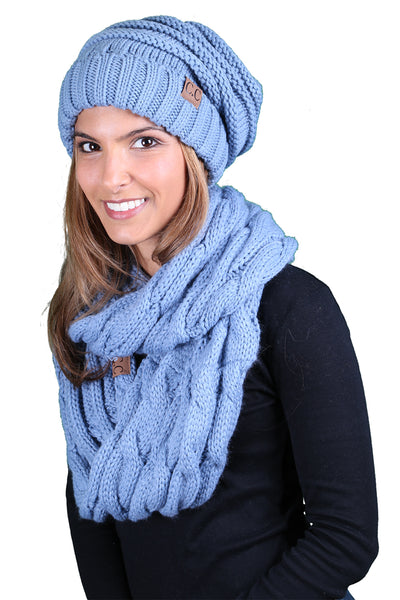 CC Oversized Slouchy Beanie Bundled With Matching Infinity Scarf - Denim