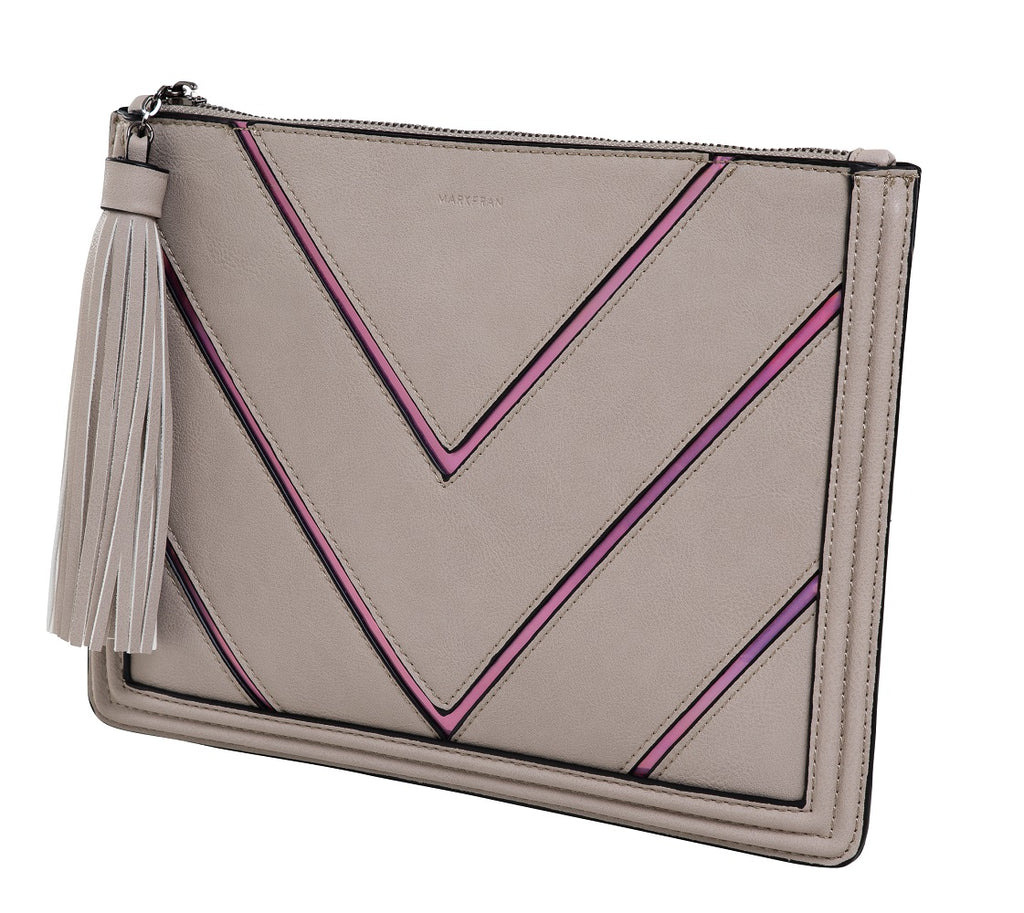 Funky Junque Evening Clutch - Metallic Chevron Beige
