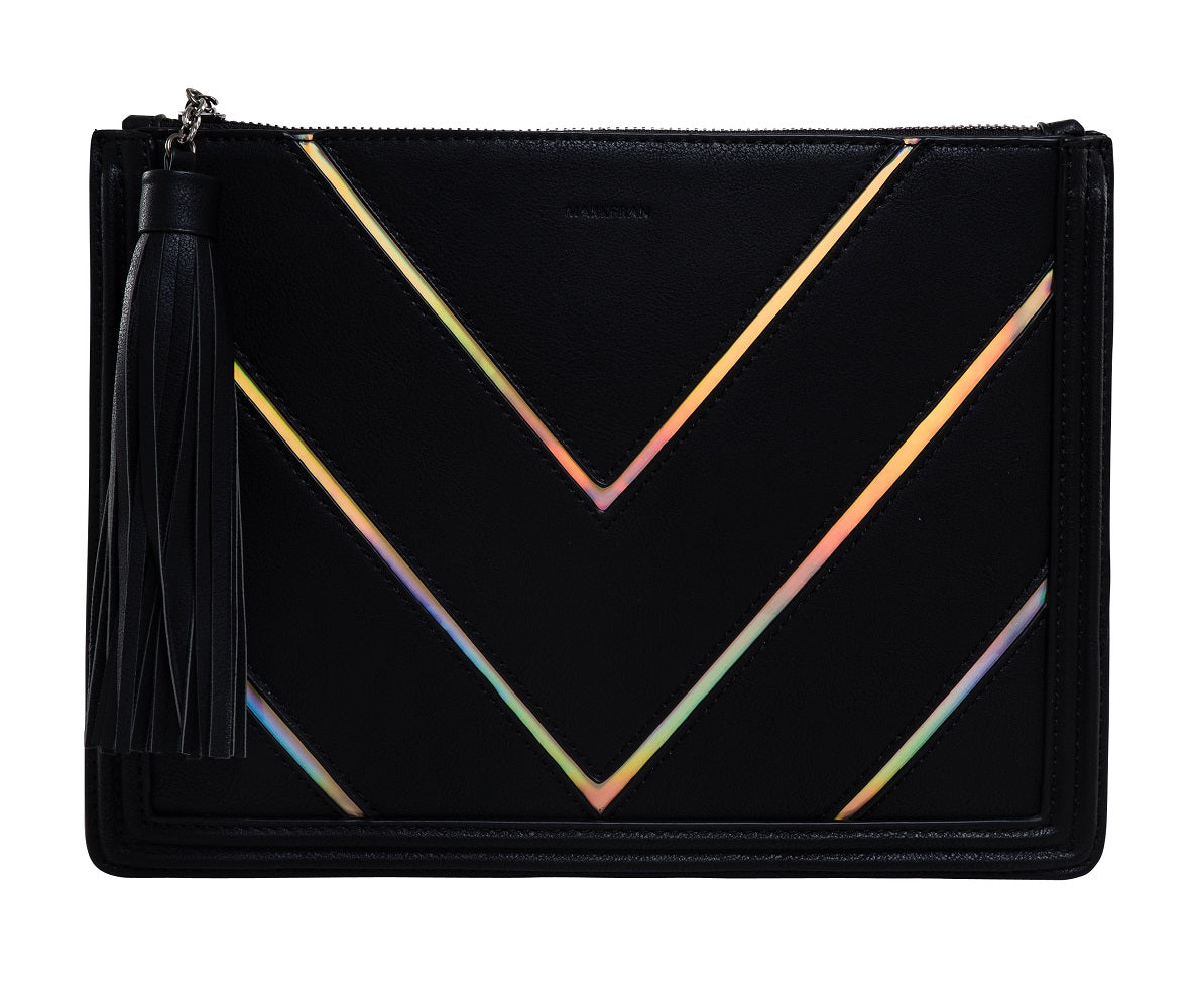 Funky Junque Evening Clutch - Metallic Chevron Black