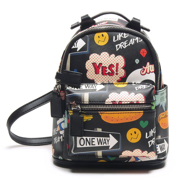 Mini Backpack - Cartoon/Icons (Black)