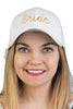C.C Embroidered Baseball Cap - Bride (White with Veil)