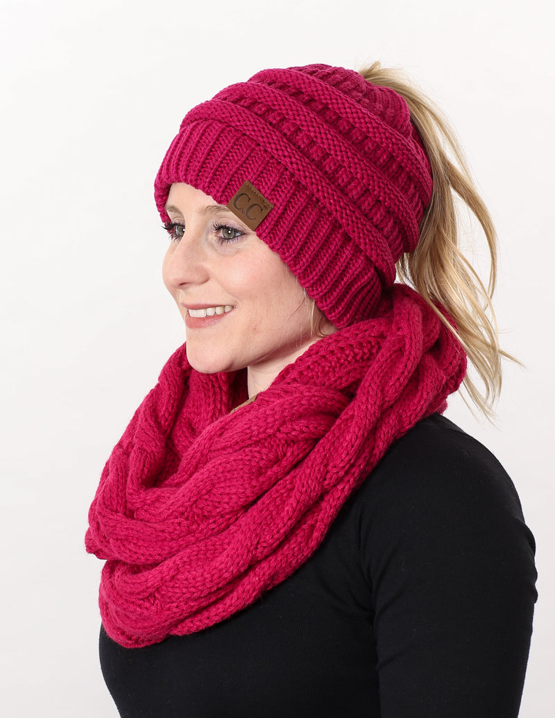 CC Messy Bun BeanieTail Bundled With Matching Infinity Scarf - Hot Pink