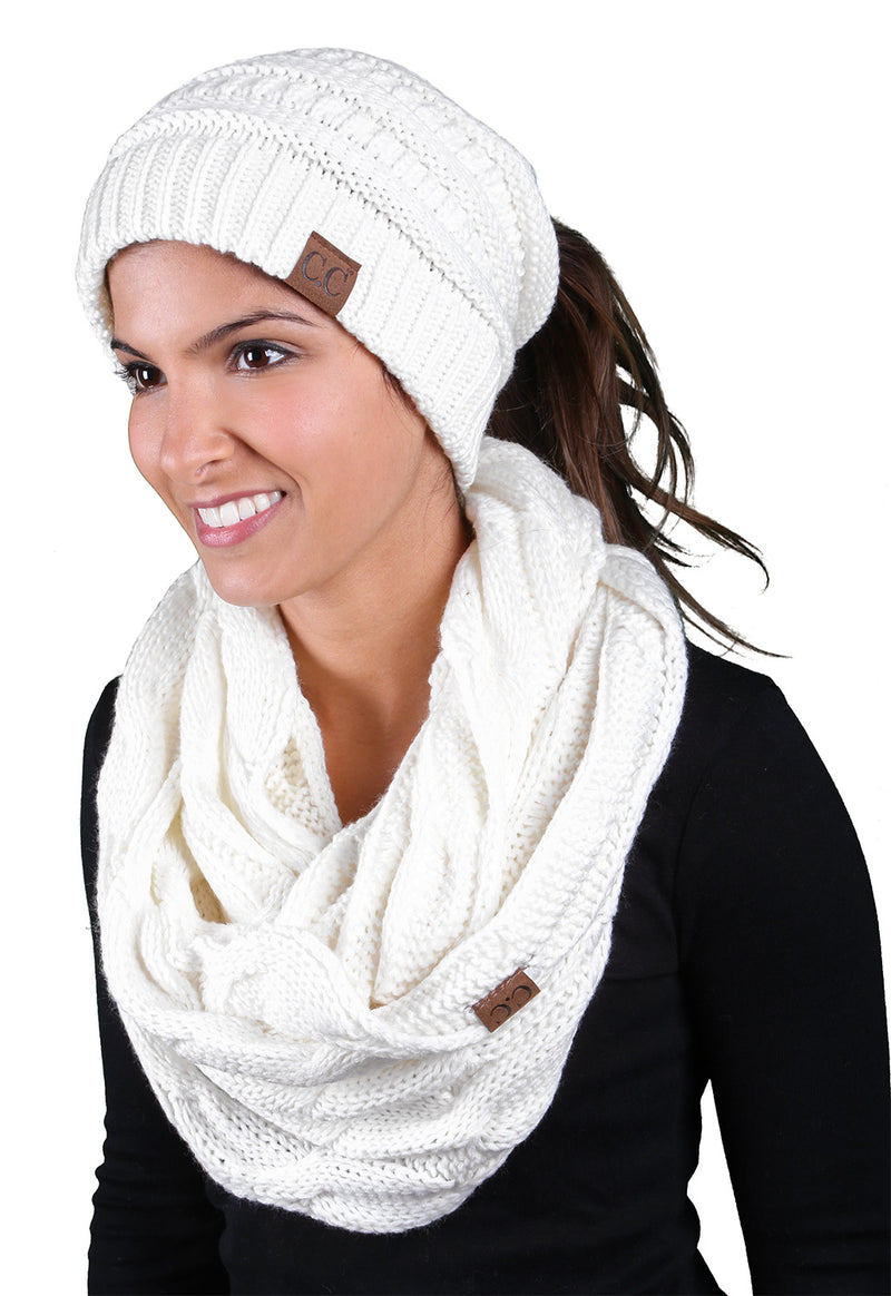 CC Messy Bun BeanieTail Bundled With Matching Infinity Scarf - Ivory