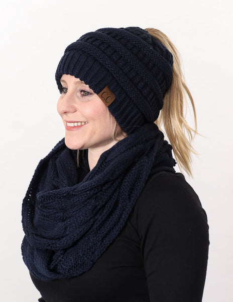 CC Messy Bun BeanieTail Bundled With Matching Infinity Scarf - Navy