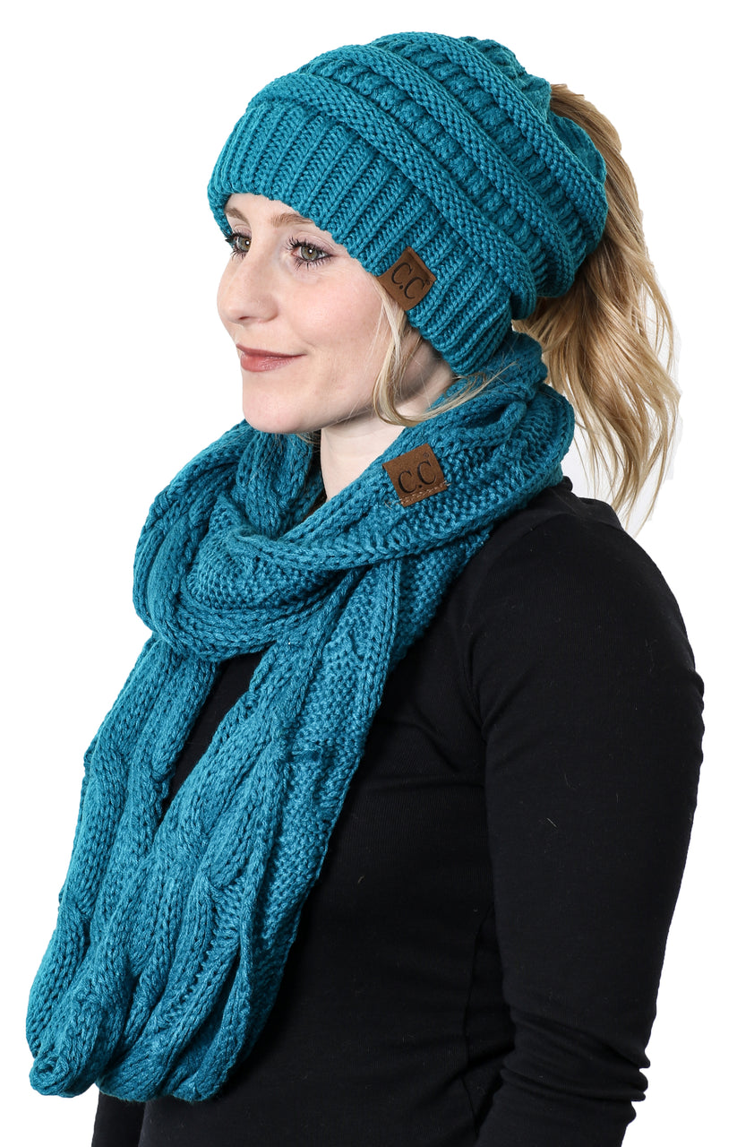 CC Messy Bun BeanieTail Bundled With Matching Infinity Scarf - Teal