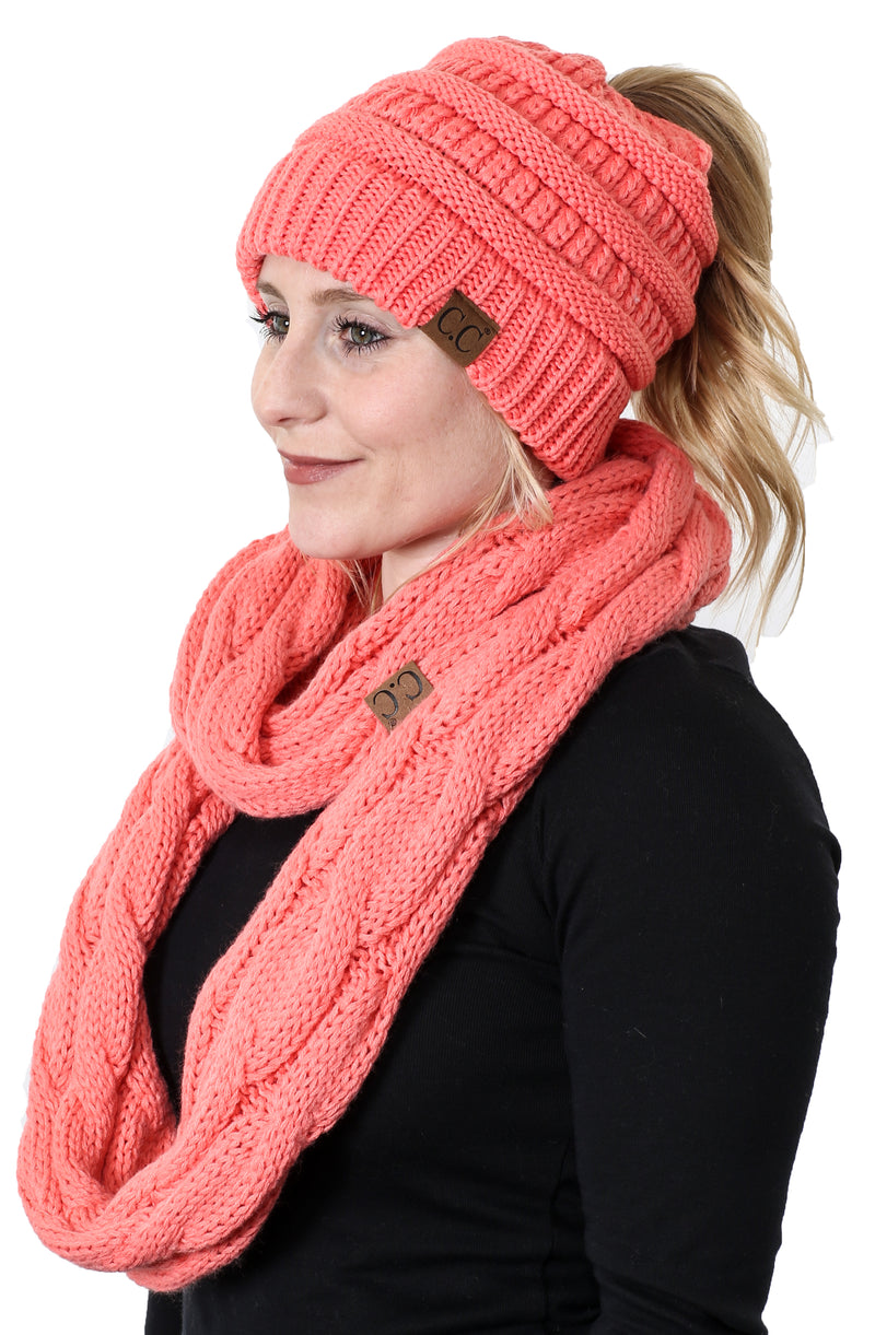 CC Messy Bun BeanieTail Bundled With Matching Infinity Scarf - Coral