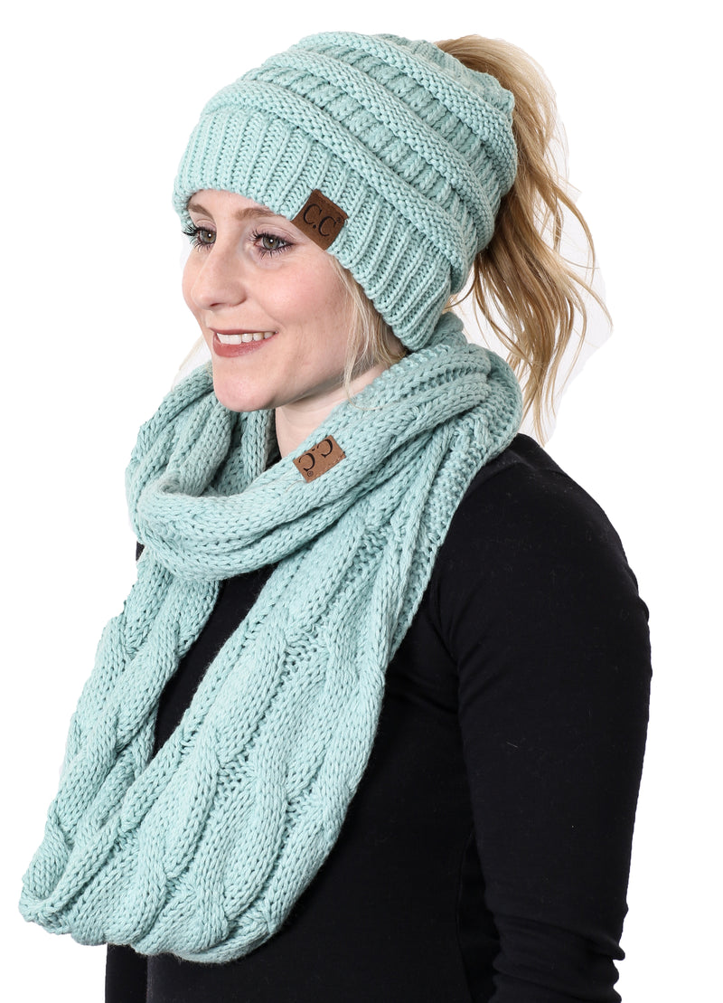 CC Messy Bun BeanieTail Bundled With Matching Infinity Scarf - Mint
