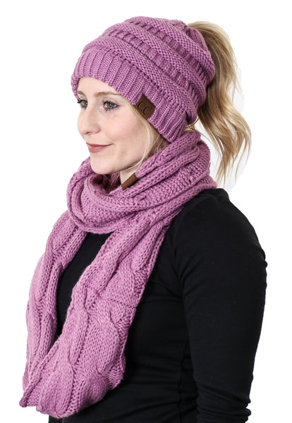 CC Messy Bun BeanieTail Bundled With Matching Infinity Scarf - Lavender