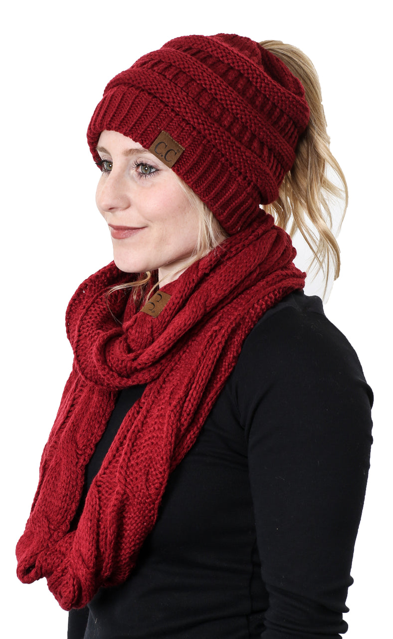CC Messy Bun BeanieTail Bundled With Matching Infinity Scarf - Burgundy