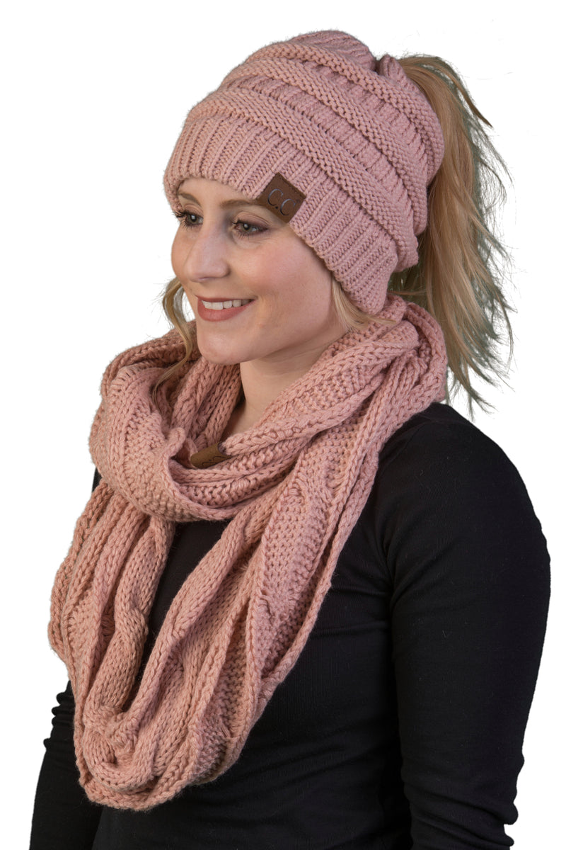 CC Messy Bun BeanieTail Bundled With Matching Infinity Scarf - Indi Pink