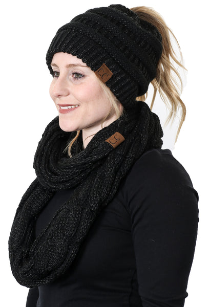 CC Messy Bun BeanieTail Bundled With Matching Infinity Scarf - Metallic Black