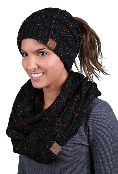 CC Messy Bun BeanieTail Bundled With Matching Infinity Scarf - Confetti Black