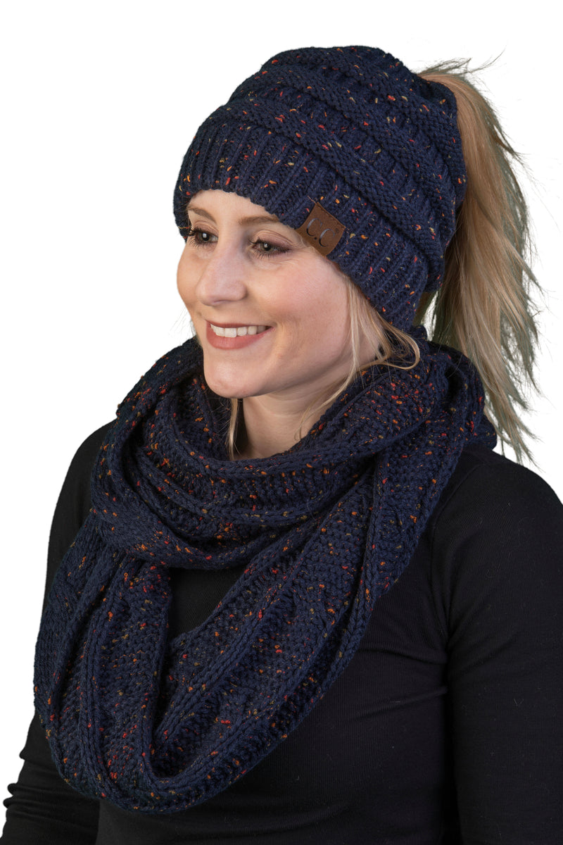 CC Messy Bun BeanieTail Bundled With Matching Infinity Scarf - Confetti Navy