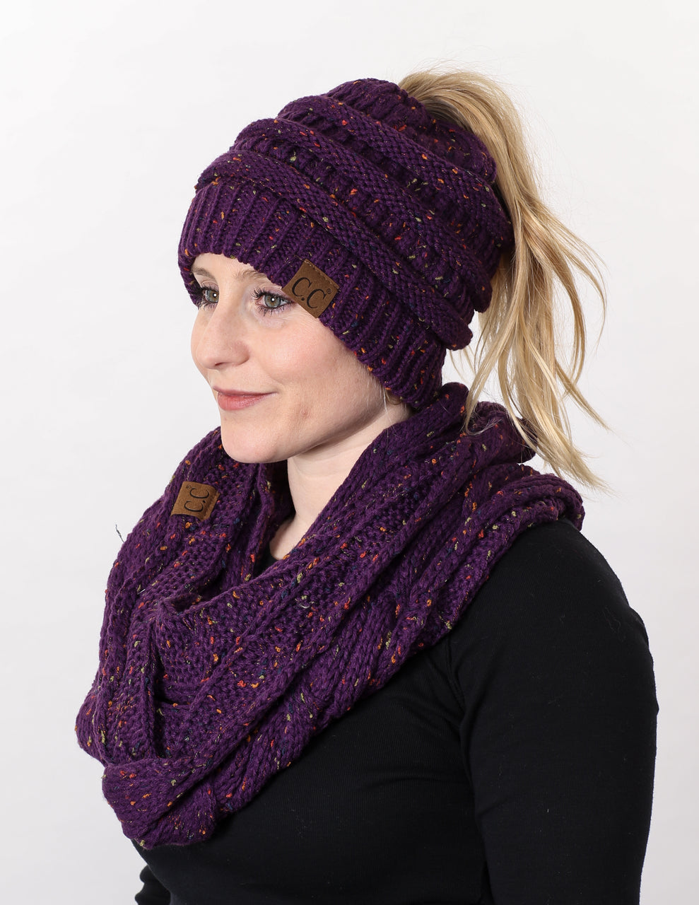 CC Messy Bun BeanieTail Bundled With Matching Infinity Scarf - Confetti Purple