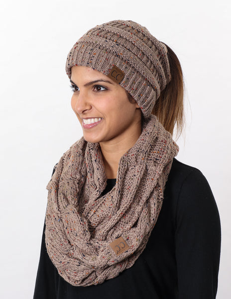 CC Messy Bun BeanieTail Bundled With Matching Infinity Scarf - Confetti Taupe
