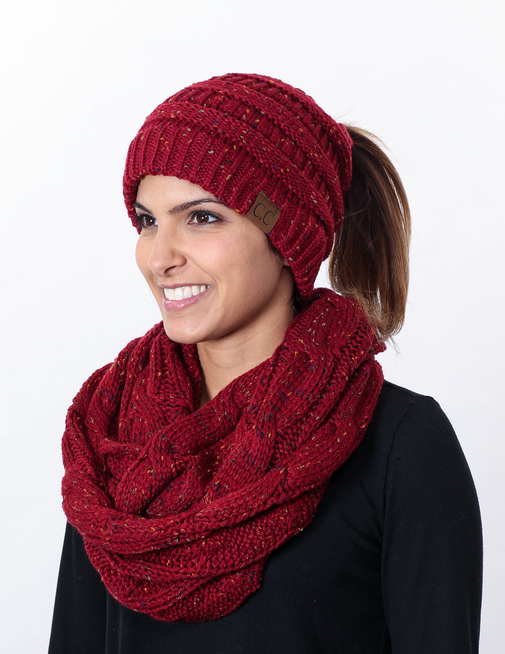 CC Messy Bun BeanieTail Bundled With Matching Infinity Scarf - Confetti Burgundy
