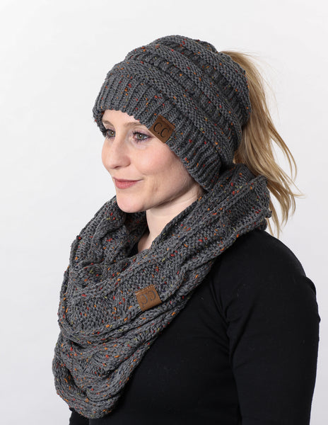CC Messy Bun BeanieTail Bundled With Matching Infinity Scarf - Confetti Melange Grey
