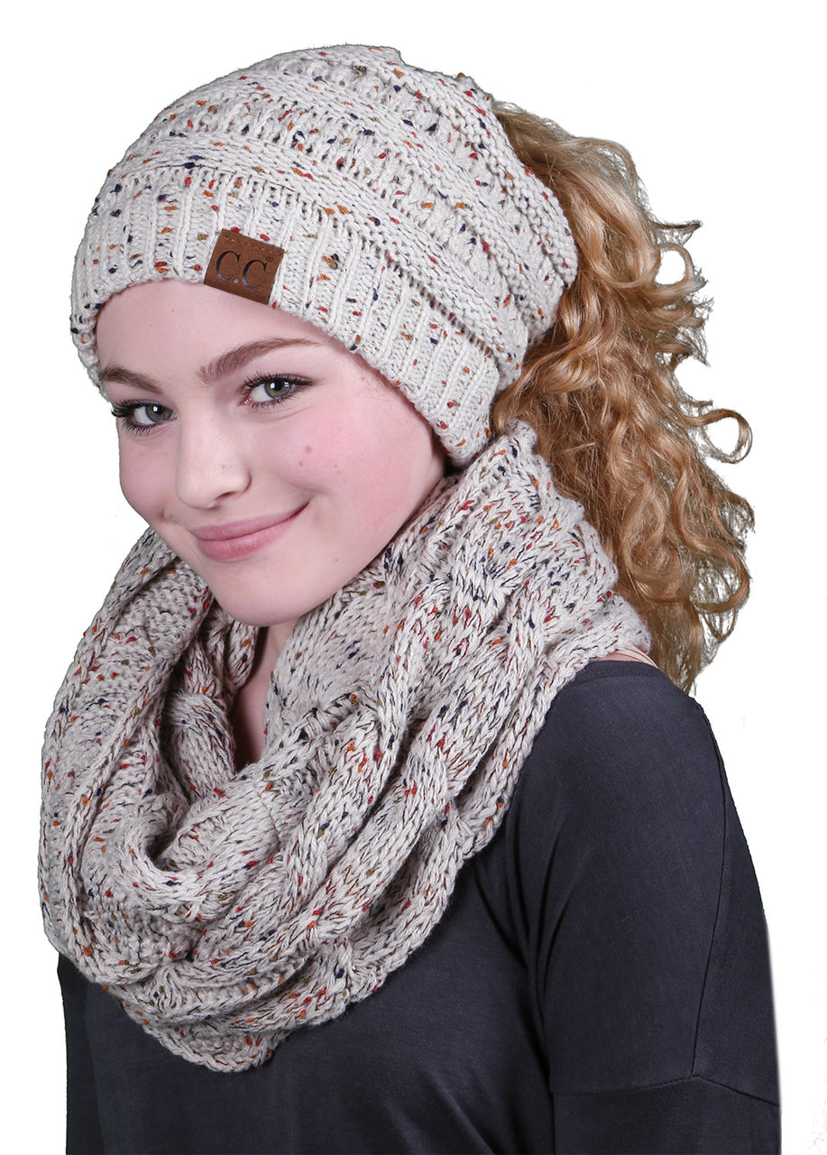 CC Messy Bun BeanieTail Bundled With Matching Infinity Scarf - Confetti Oatmeal