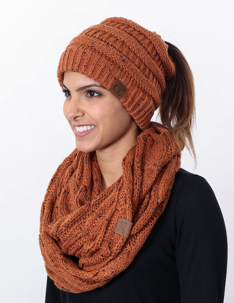 CC Messy Bun BeanieTail Bundled With Matching Infinity Scarf - Confetti Rust