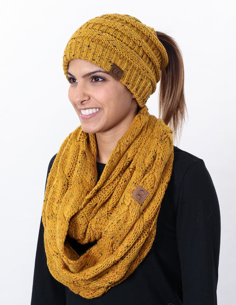CC Messy Bun BeanieTail Bundled With Matching Infinity Scarf - Confetti Mustard