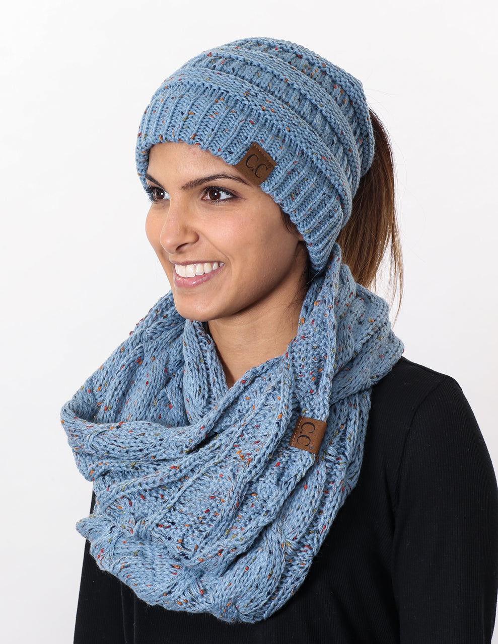 CC Messy Bun BeanieTail Bundled With Matching Infinity Scarf - Confetti Denim