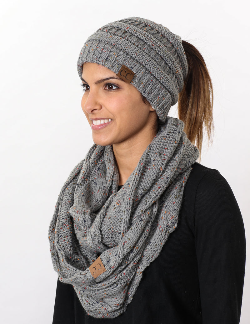 CC Messy Bun BeanieTail Bundled With Matching Infinity Scarf - Confetti Dove Grey