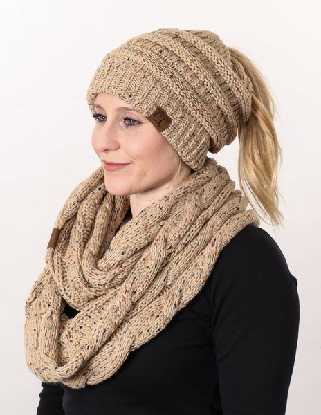 CC Messy Bun BeanieTail Bundled With Matching Infinity Scarf - Confetti Latte