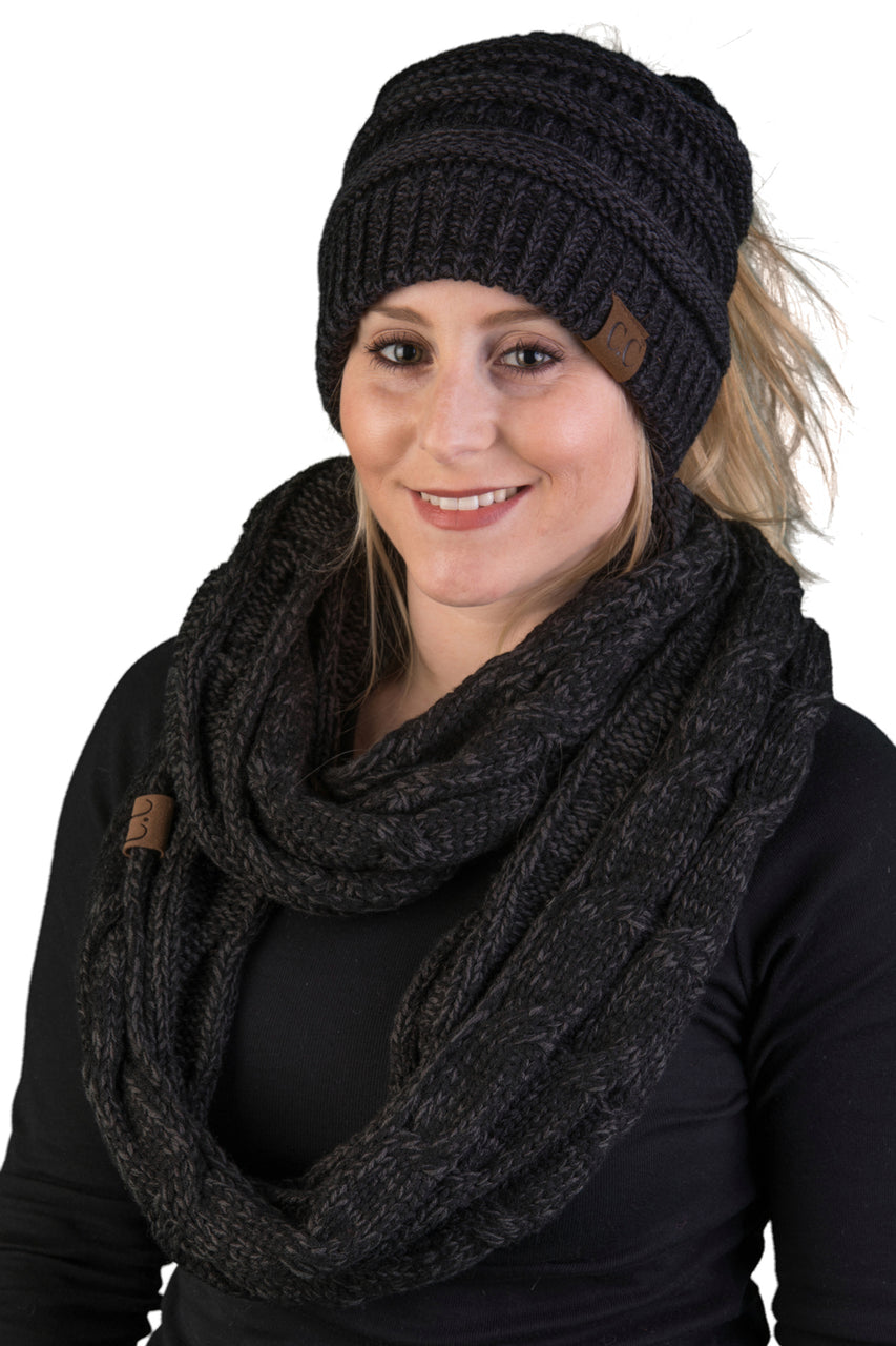 CC Messy Bun BeanieTail Bundled With Matching Infinity Scarf - Onyx Black