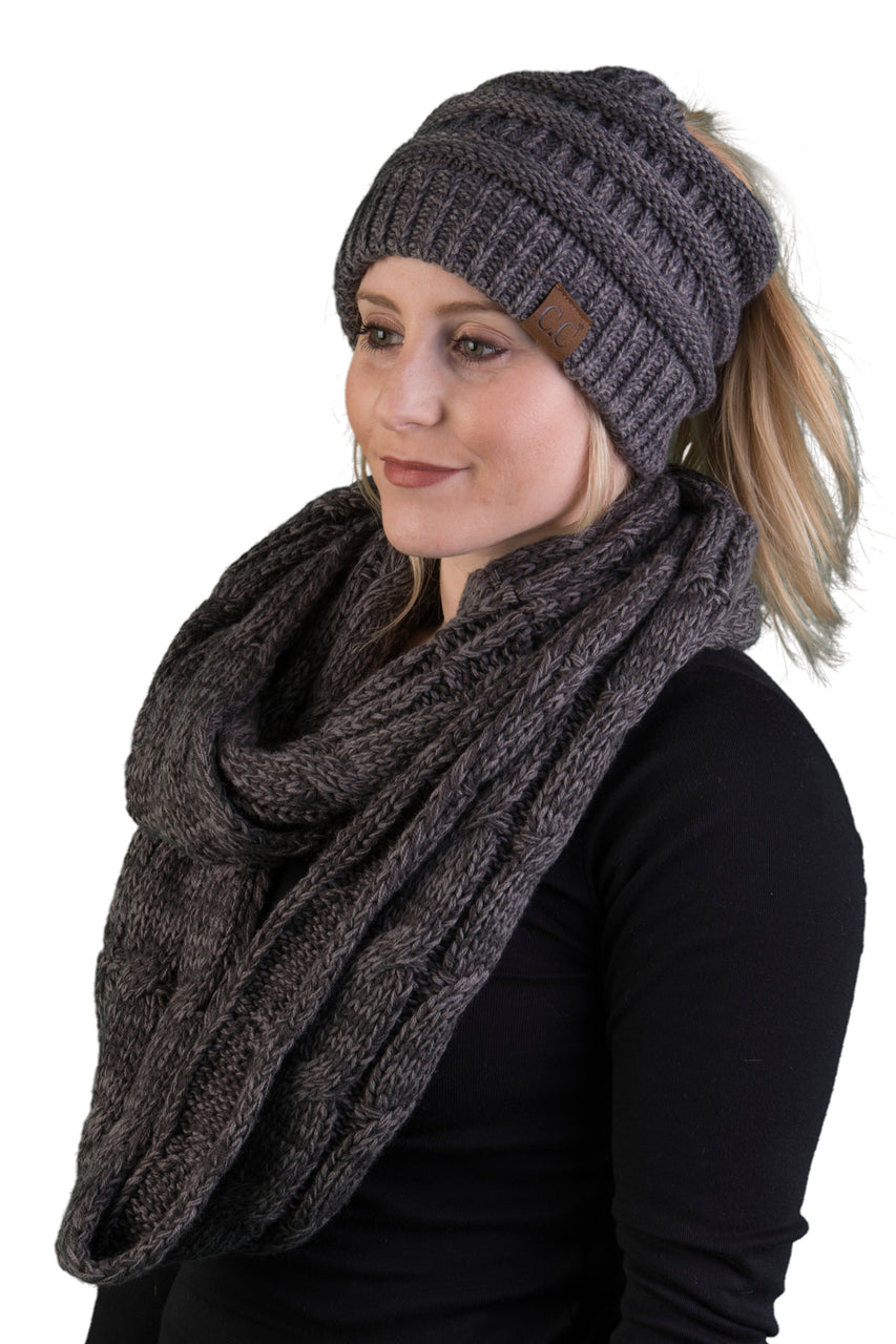 CC Messy Bun BeanieTail Bundled With Matching Infinity Scarf - Graphite Grey