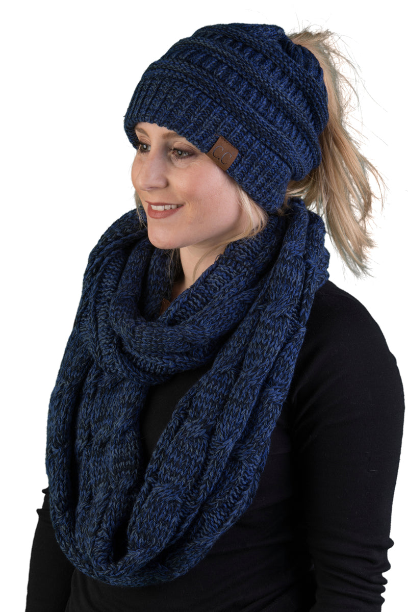 CC Messy Bun BeanieTail Bundled With Matching Infinity Scarf - Midnight Blue