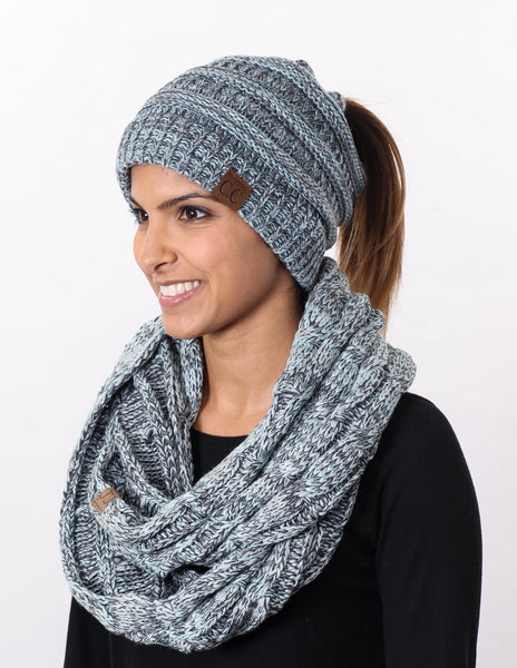 CC Messy Bun BeanieTail Bundled With Matching Infinity Scarf - Hint of Mint