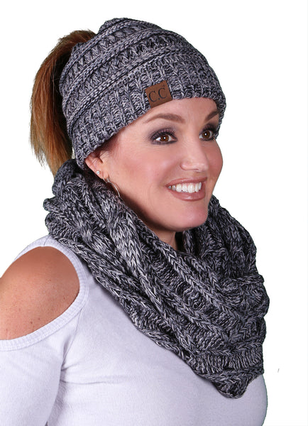 CC Messy Bun BeanieTail Bundled With Matching Infinity Scarf - Grey/Black Mix #31