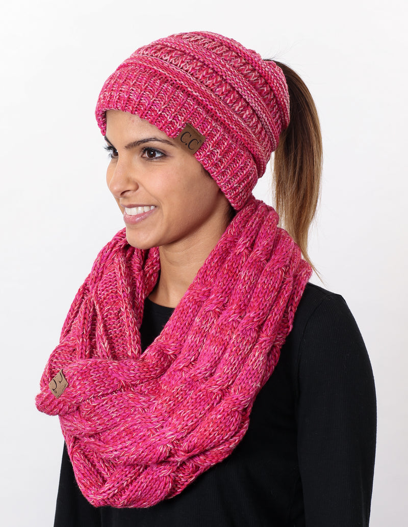 CC Messy Bun BeanieTail Bundled With Matching Infinity Scarf - Red/Pink Mix #10