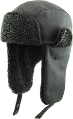 Trapper Hat - Black Faux Fur Water Resistant