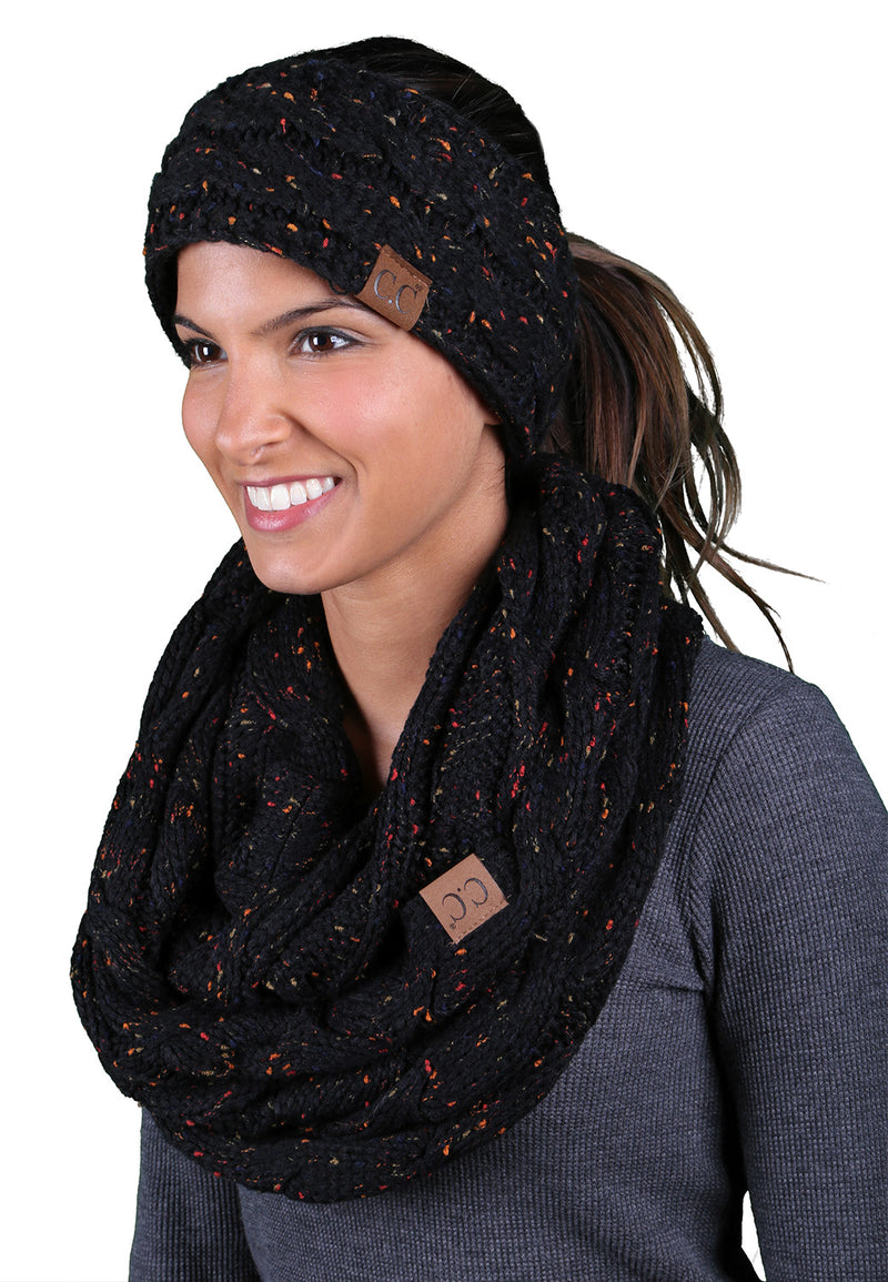 CC Fuzzy Lined Confetti Head Wrap With Matching Infinity Scarf - Black