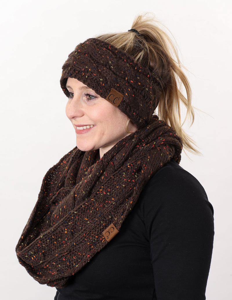 CC Fuzzy Lined Confetti Head Wrap With Matching Infinity Scarf - Brown