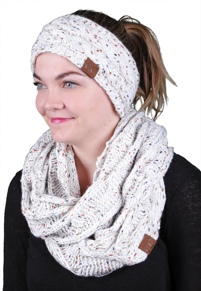 CC Fuzzy Lined Confetti Head Wrap With Matching Infinity Scarf - Ivory